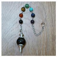 Маятник (Чёрный Оникс + 7 камней чакр)
