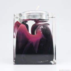 Черно-розовый подсвечник из эпоксидной смолы